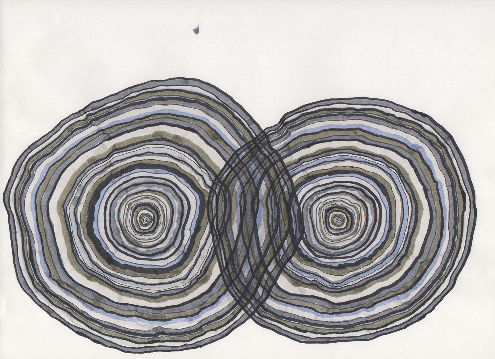 """Double 63 Years,"" 2015, marker and pen on paper, 9in. x 11 7/8in."