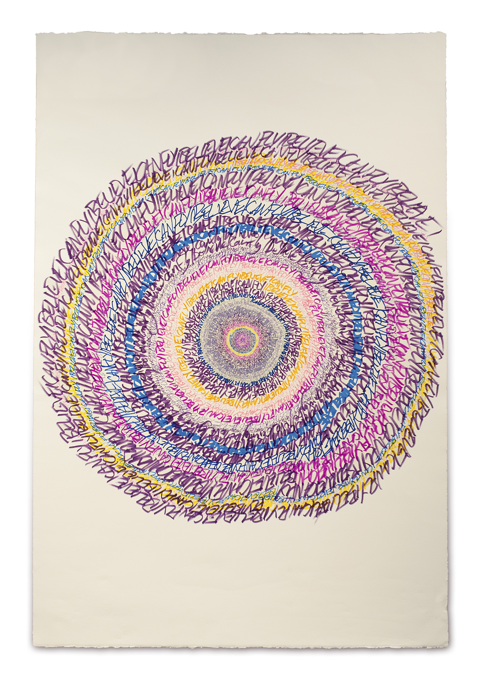 """Energy Spiral—I Believe I Can Fly (Sacred Hoop),"" 2013, marker and pen on paper, 44in. x 30in."