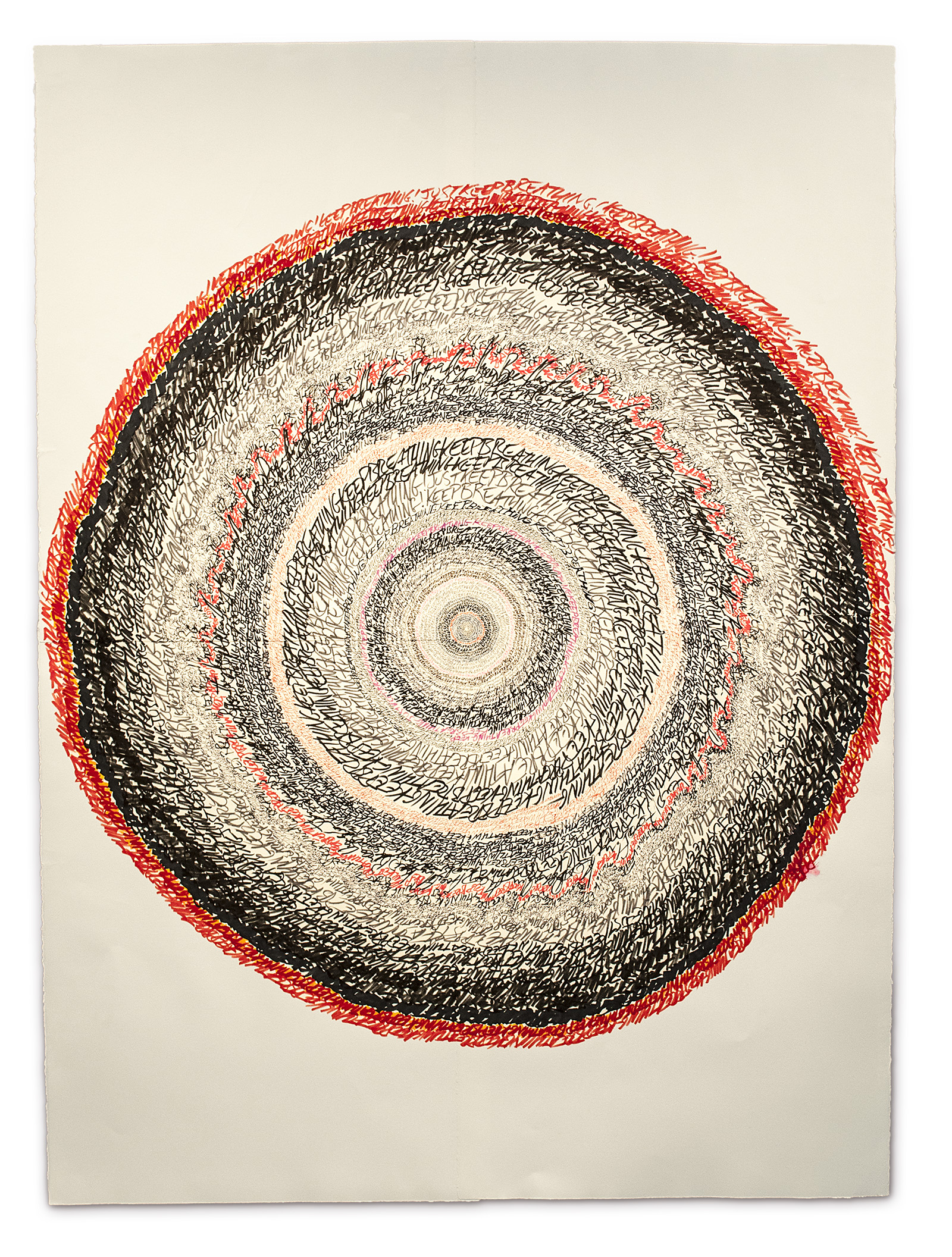 """Energy Spiral—Keep Breathing (for Nancy),"" 2013, marker and pen on paper, 59in. x 43.5in."