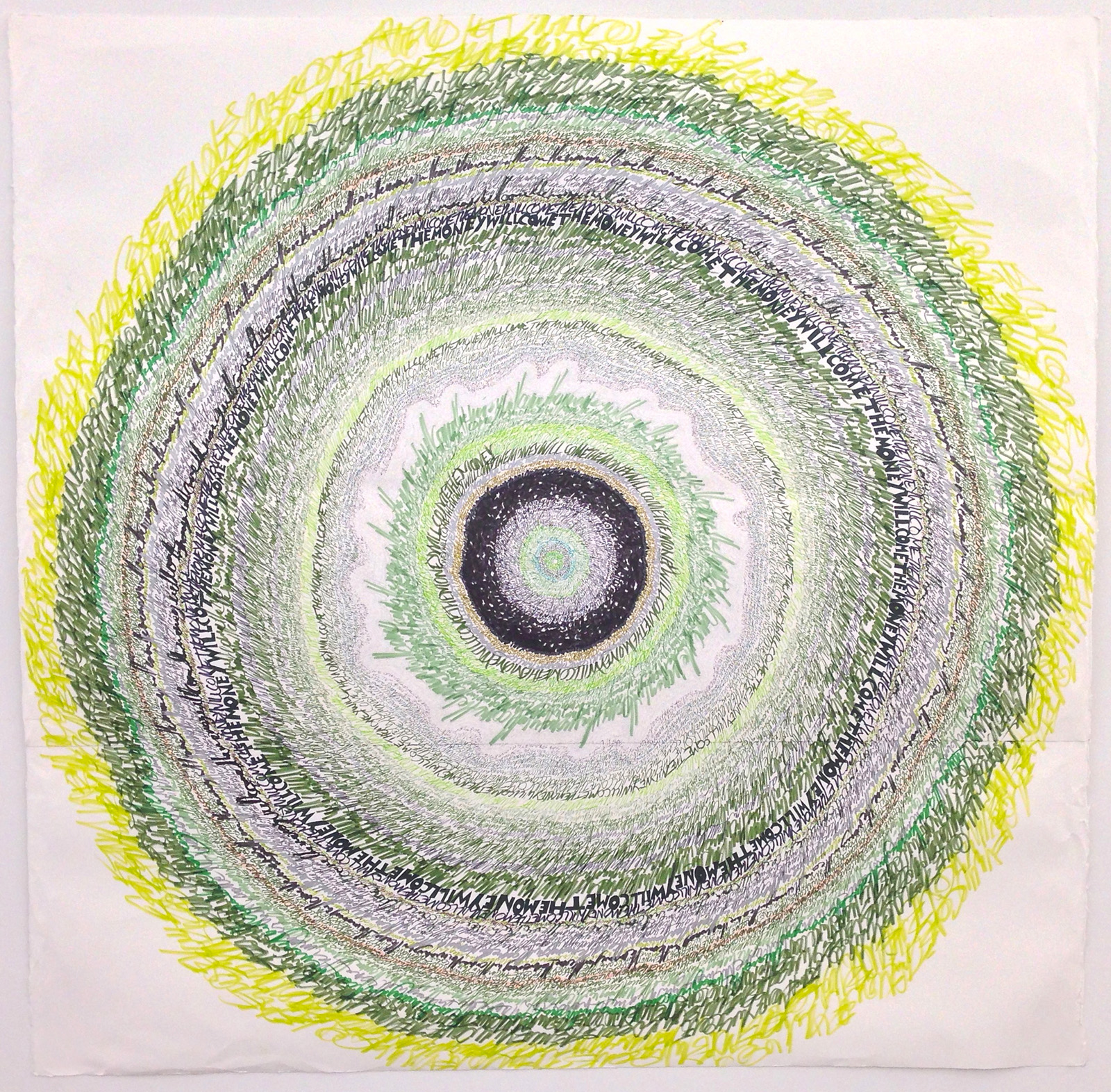 """Energy Spiral—The Money Will Come,"" 2013, marker and pen on paper, 44in. x 44in.