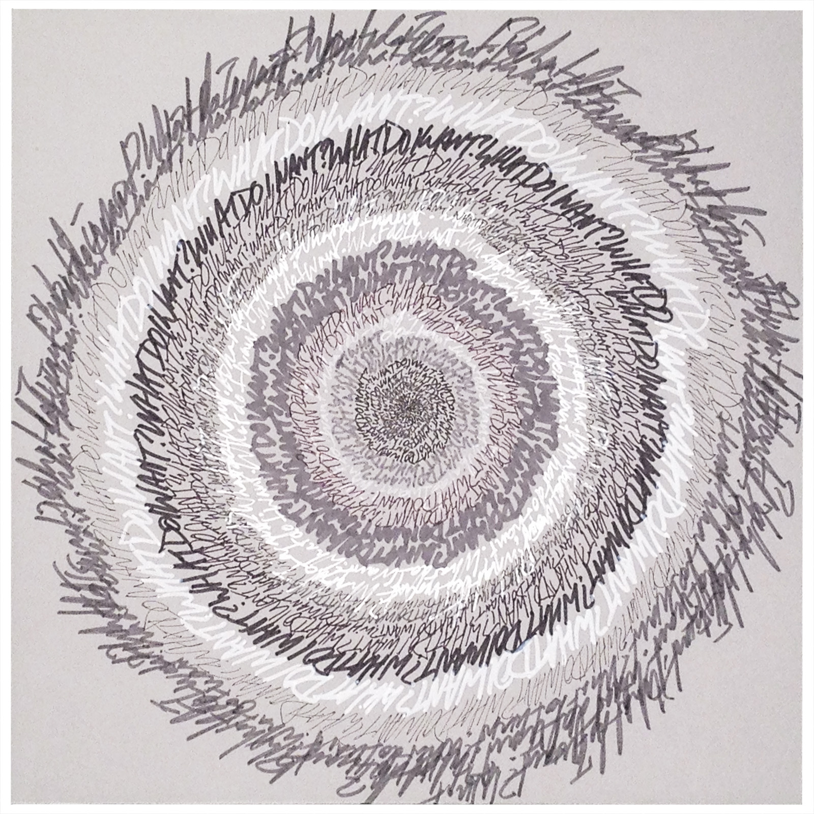 """Energy Spiral—What Do I Want?"", 2014, pen & marker on paper, 10 in. x 10 in."