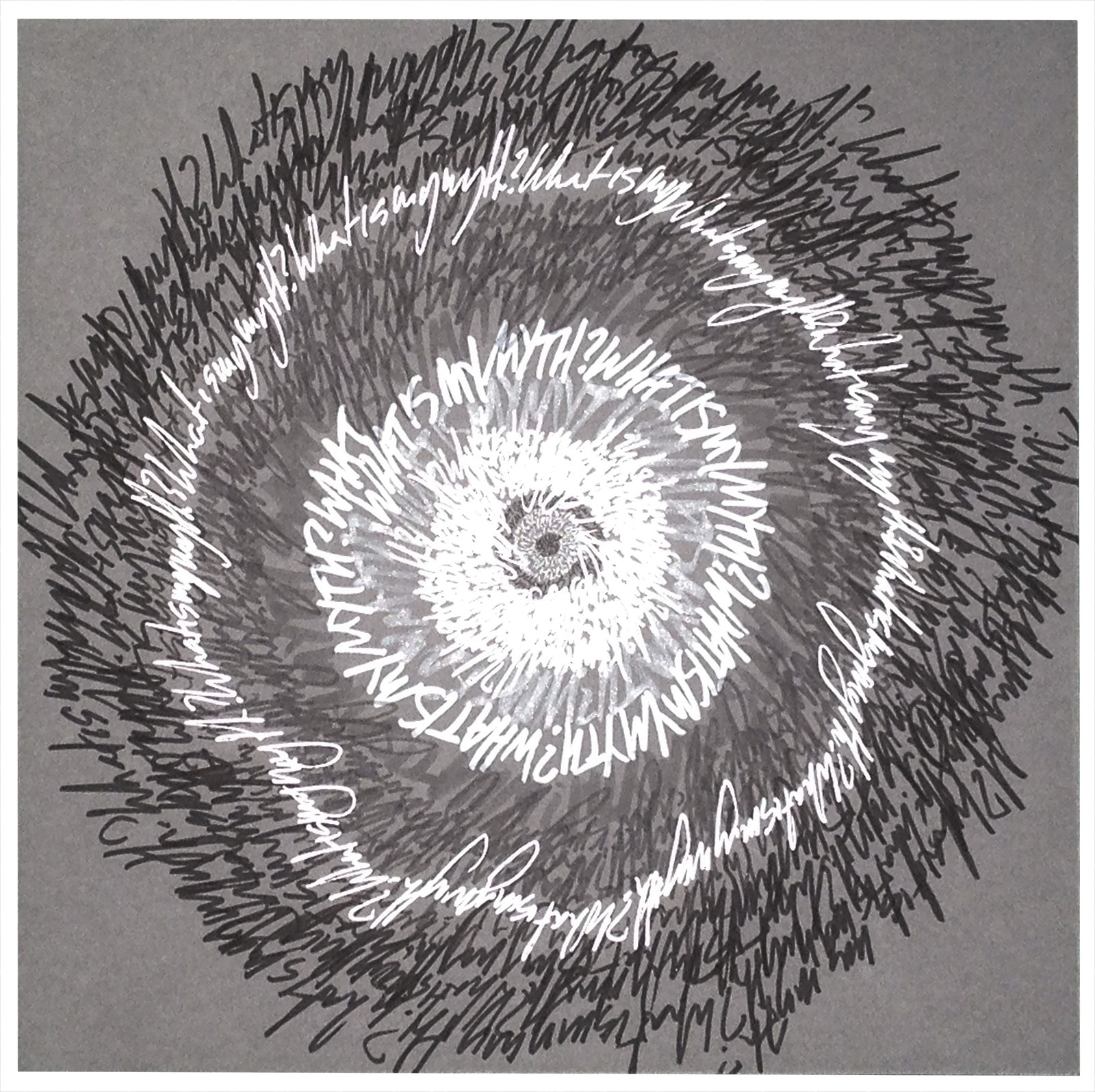 """Energy Spiral—What Is My Myth? #2"", 2014, pen & marker on paper, 10 in. x 10 in."
