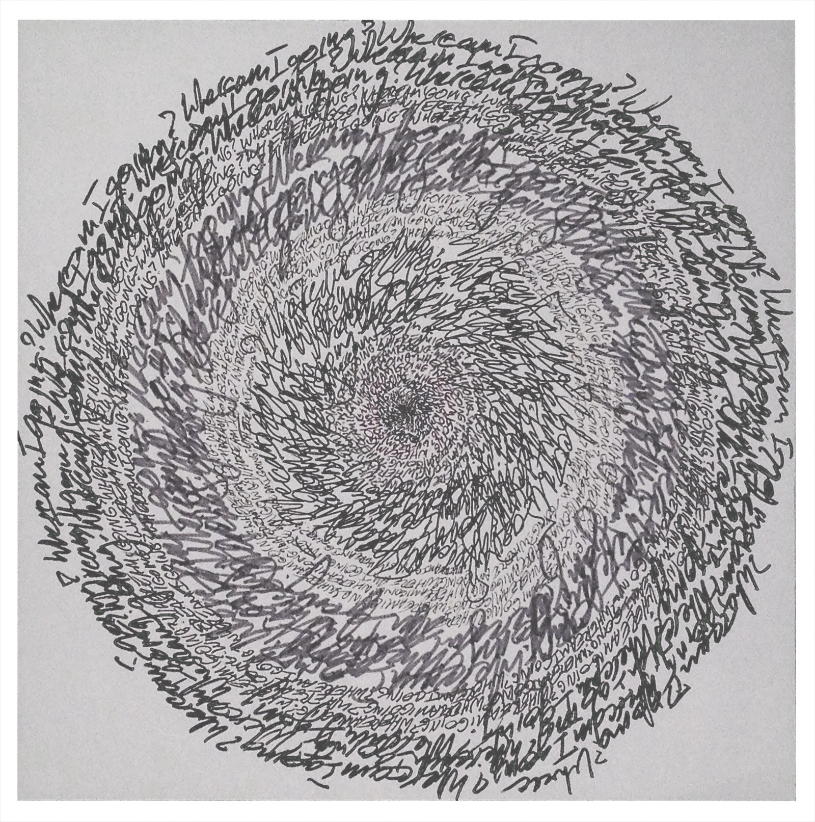 """Energy Spiral—Where Am I Going?"", 2014, pen & marker on paper, 10 in. x 10 in."