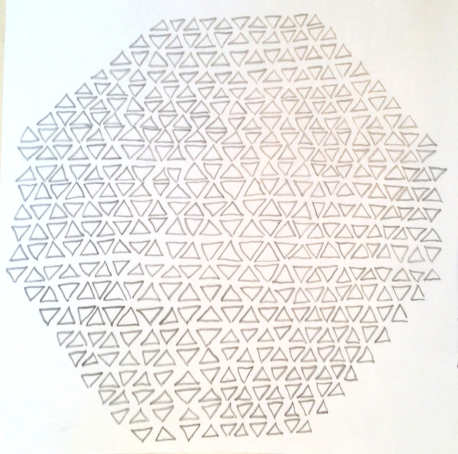 """""""Tenuous Triangles #2,"""" 2012, pencil on paper, approx: 8in. x 8in."""