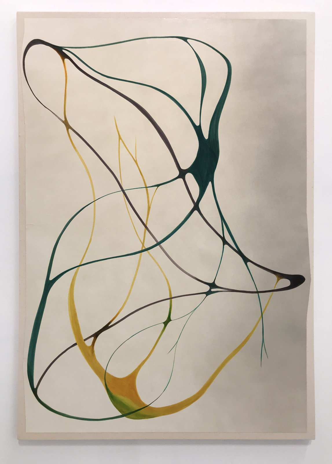 """Reciprocity and Solidarity,"" 2018, marker and acrylic on paper mounted on canvas, 42in. x 28in."