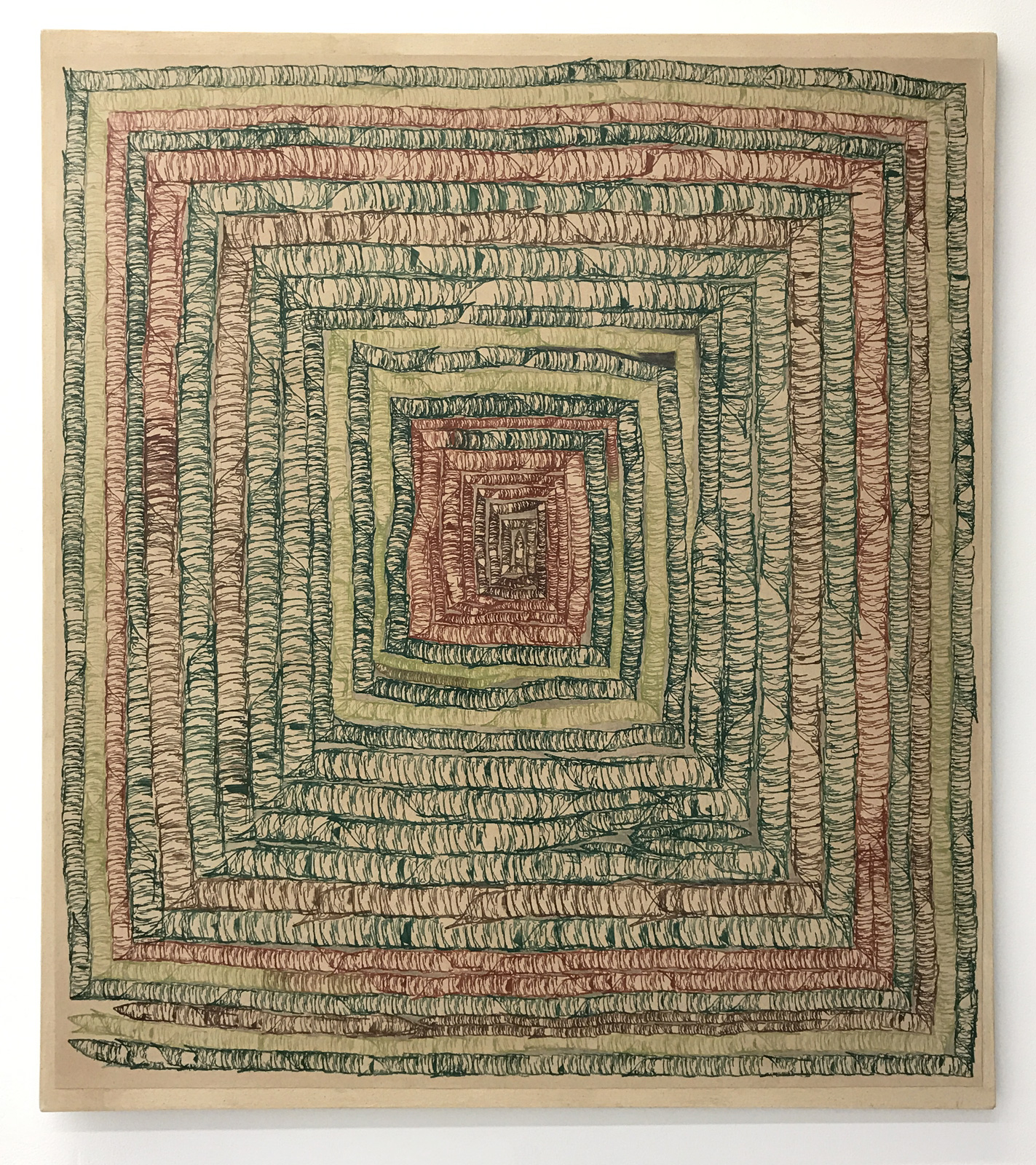 """The Memory of Light,"" 2018, ink and pencil on paper mounted on canvas, 36in. x 32in."